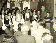 The photo on the left shows his sister, Marina, circled in red on the left, his brother, Stephanos, circled in green, and Mr. Hatsioannou (Kounavos) on the extreme right, circled in blue.