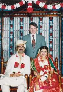 In the picture, Mr. Goudas standing between Mr. Raju Tripathi (groom) and Mrs. Asha Tripathi (bride), inside the Hindu Mandir (Temple). Mr. Goudas wishes the new couple a long and prosperous life!